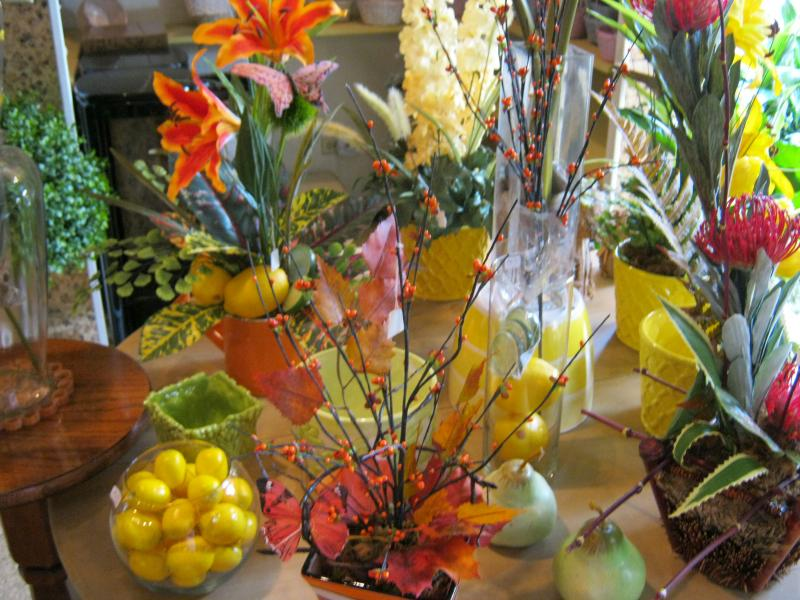 Lovely silk flowers and realistic accessories in the gallery at Hatler's.